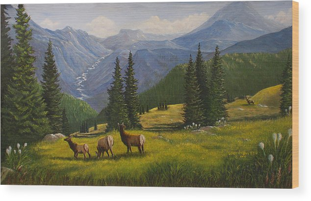 Landscape Wood Print featuring the painting The Moyie Drop by Lucille Owen-Huston