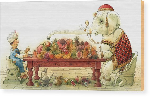 White Elephant King Good Luck Palace Court Breakfast Food Fruit India Happiness Fortune Wood Print featuring the painting The White Elephant 03 by Kestutis Kasparavicius