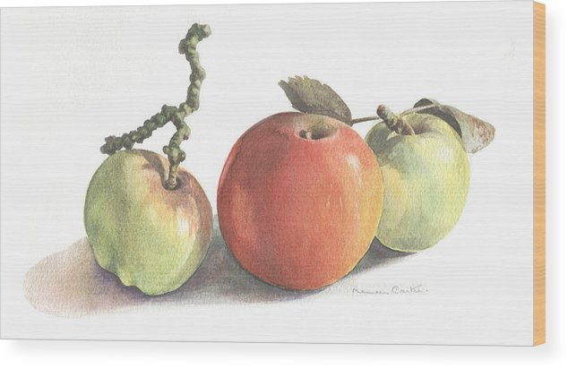 Fruit Wood Print featuring the painting Three Apples by Maureen Carter