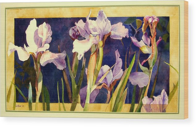 Irises Wood Print featuring the painting Three Gossips by Linda Marie Carroll