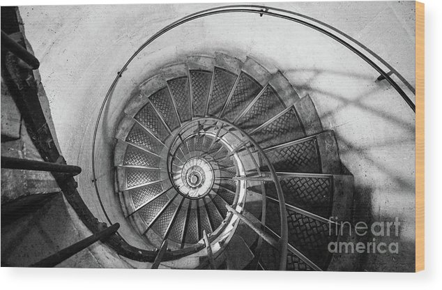 Napoleonic Wood Print featuring the photograph Lblack And White View Of Spiral Stairs Inside The Arch De Triump by PorqueNo Studios