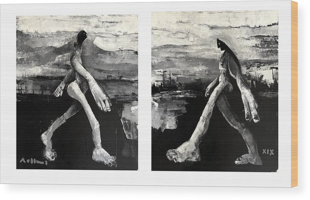 Diptych Wood Print featuring the painting Polar Opposites by Mark M Mellon