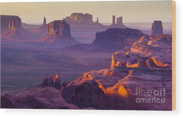 Southwest Wood Print featuring the photograph Sunset Over The Hunts Mesa by Ronnybas Frimages