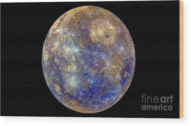 Planet Wood Print featuring the photograph Mercury Hemisphere, Messenger Image by Nasa