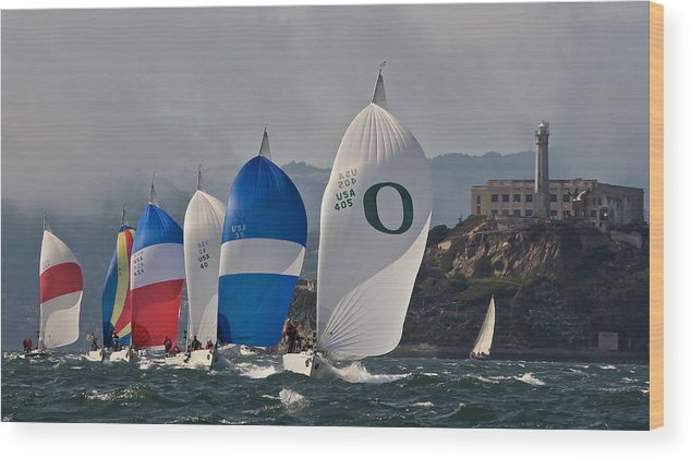 San Francisco Wood Print featuring the photograph San Francisco Spinnakers by Steven Lapkin