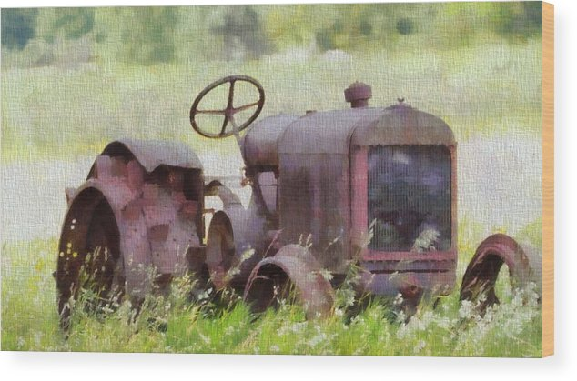 Abandoned Tractor On The Farm Wood Print featuring the painting Abandoned Tractor On The Farm by Dan Sproul
