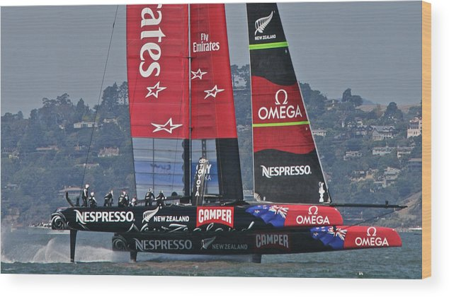 San Francisco Wood Print featuring the photograph America's Cup San Francisco by Steven Lapkin