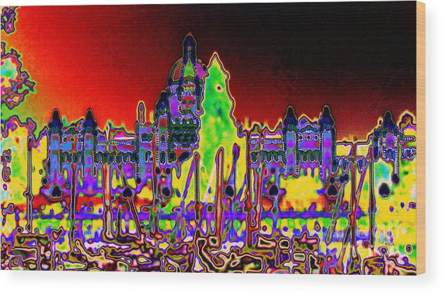 Greeting Card Wood Print featuring the digital art British Columbias Capitol Building At Night by Raphael OLeary