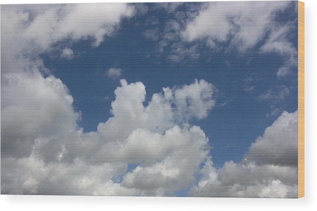 Cumulus Wood Print featuring the photograph Cloudy Blue Sky by Peter Lloyd