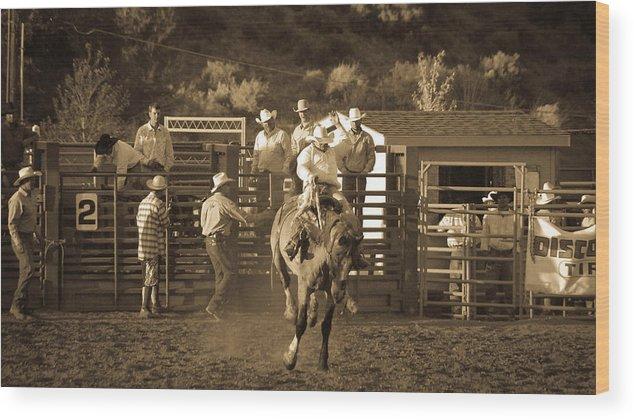 Action Wood Print featuring the photograph Cowboy by Jordan Kaplan
