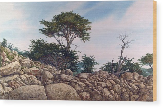 Landscape Wood Print featuring the painting Cypress Garden by Tom Wooldridge
