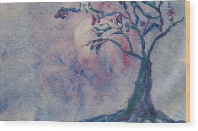 Moon Wood Print featuring the painting Dancing In The Moonlight by Sharon Ackley