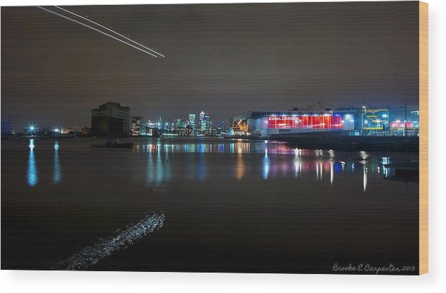 Sky Wood Print featuring the photograph Excel London by Brooke Carpenter