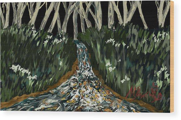 Landscape Wood Print featuring the digital art Falling by Amanda Johnson