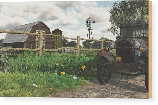 Scenic Wood Print featuring the digital art In The Heartland by Jayne Wilson