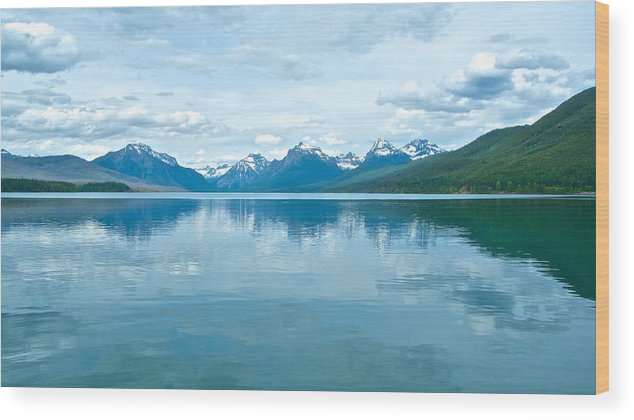 Lake Mcdonald Wood Print featuring the photograph Lake Mcdonald Reflection In Glacier National Park-montana by Ruth Hager