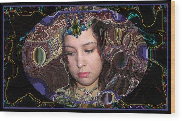 Portrait Wood Print featuring the digital art Lapislazuli Beauty by Otto Rapp