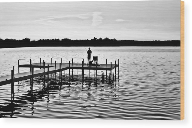 Dock Wood Print featuring the photograph Last Cast In Bw by Greg Jackson