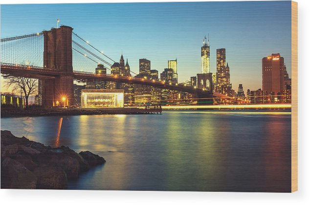 New York Wood Print featuring the photograph Light Trais Under The Bridge by Maico Presente