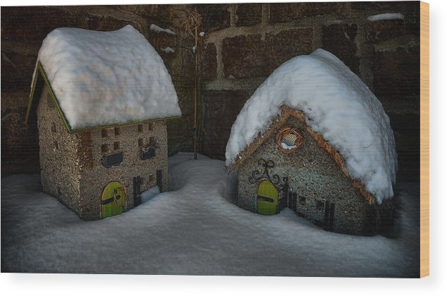 Little House Big Snow Wood Print featuring the photograph Little Houses Big Snow by Berkehaus Photography