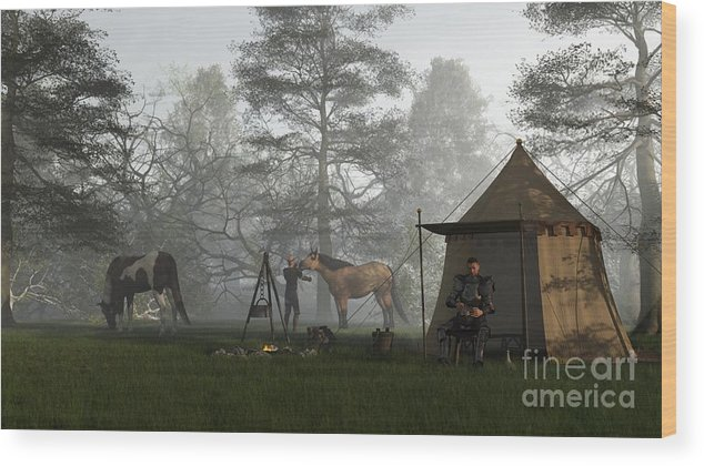 Knight Wood Print featuring the digital art Morning In The Knights Camp by Fairy Fantasies