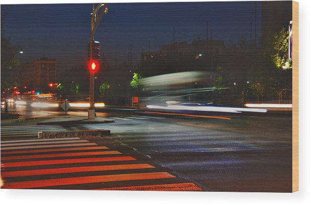 Boston Wood Print featuring the photograph Night Streaks by Joann Vitali