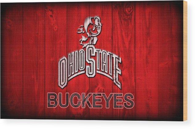 Ohio State Buckeyes Barn Door Vignette Wood Print featuring the digital art Ohio State Buckeyes Barn Door Vignette by Dan Sproul