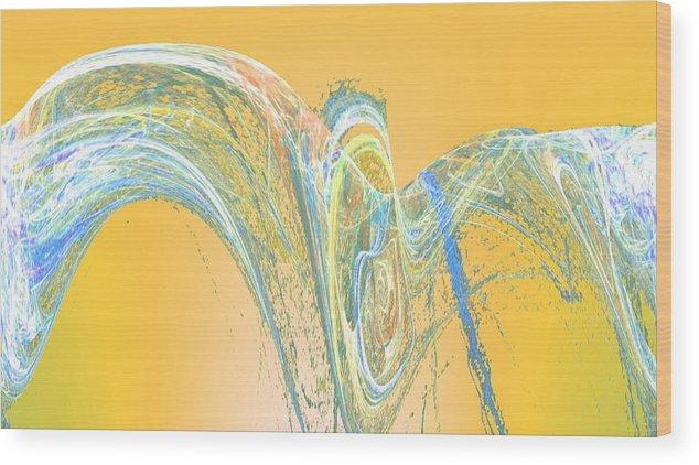 Fractal Wood Print featuring the digital art Ripple Yellow by John Lynch