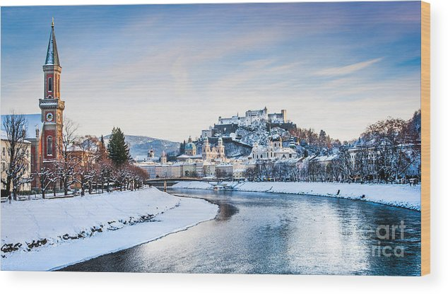 Austria Wood Print featuring the photograph Salzburg Winter Fairy Tale by JR Photography