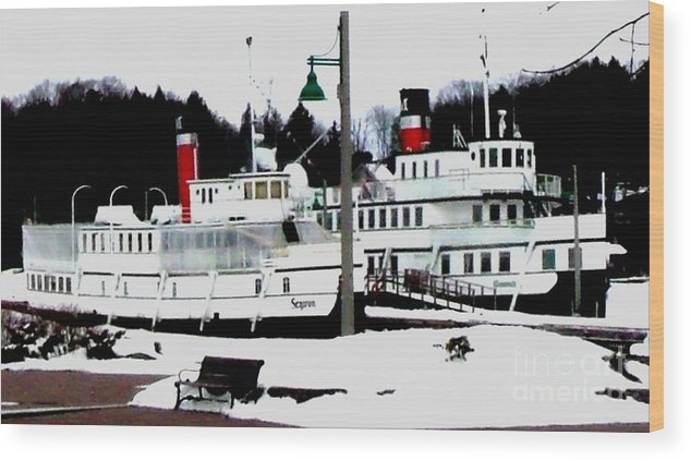 Real Photo Wood Print featuring the photograph Segwun And Wenonah Steamships In Winter by Gail Matthews