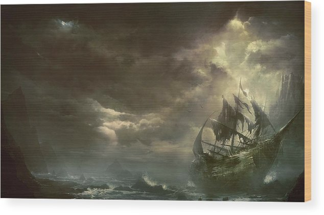 Ship Wood Print featuring the painting Ship Badweather by Hao Chen