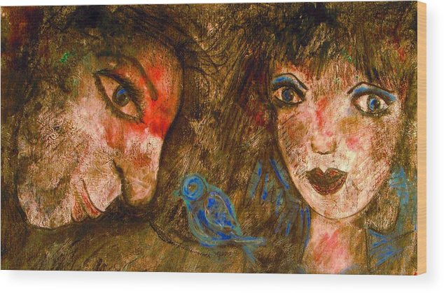 Expressionsim Wood Print featuring the painting Singing Love Bird by Natalie Holland