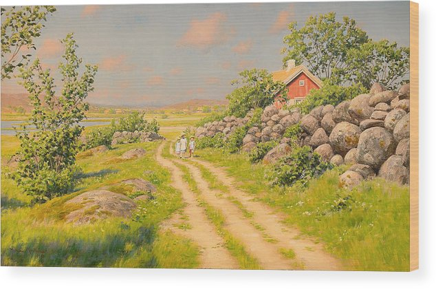 Summer Wood Print featuring the painting Summer Landscape by Mountain Dreams