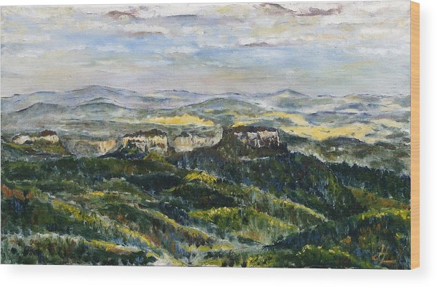 Landscape Wood Print featuring the painting Tam Bylo More by Pablo de Choros
