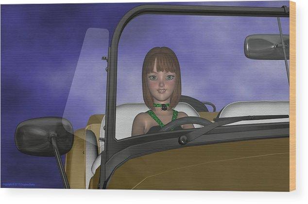 3dartwork Wood Print featuring the digital art Viridia In Car by Stephen Burke