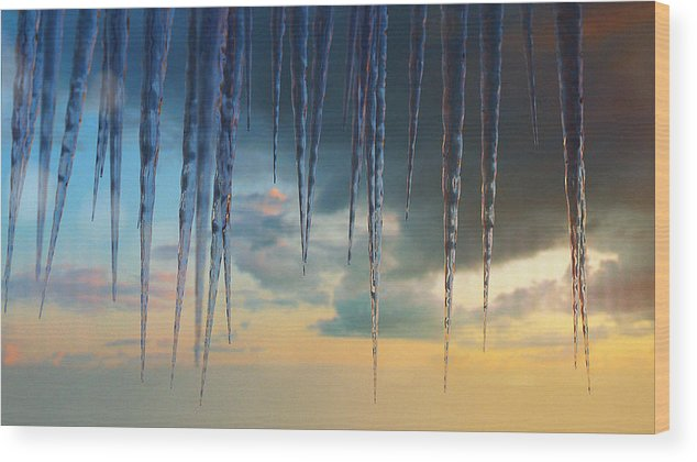 Ice Wood Print featuring the digital art Winter Sunset by Rick Thompson