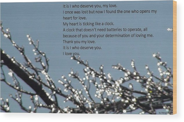 Romance Wood Print featuring the photograph Words Of Love With Glittering Tree Stems by Margo Fynn