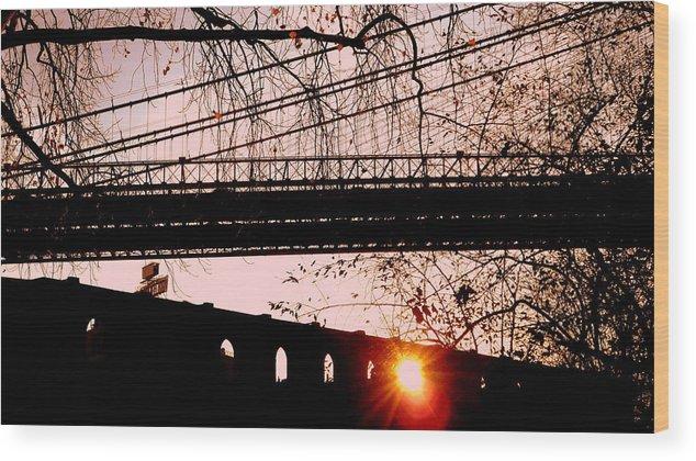 Brooklyn Wood Print featuring the photograph Brooklyn Bridge by Valentino Visentini