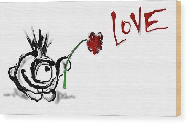 Budgieball Love Flower Wood Print featuring the digital art Budgieball With Flower by Bud G Ball
