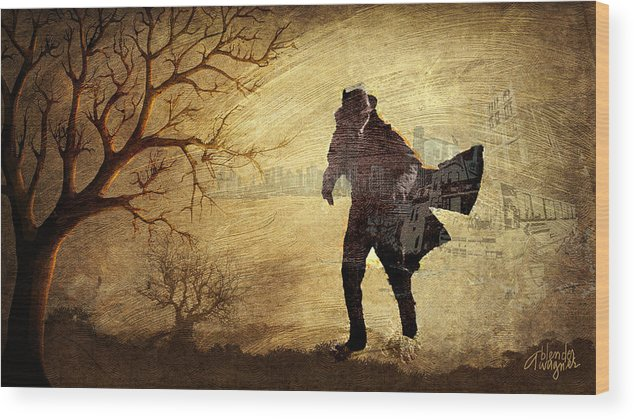 Tree Wood Print featuring the digital art Escaping The City by Arline Wagner
