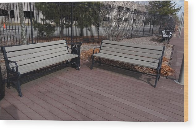 Bench Wood Print featuring the photograph Have A Seat by Jessica Cruz