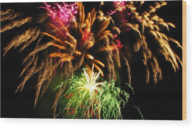Fireworks Wood Print featuring the photograph Longwood Fireworks by Sheila Rodgers
