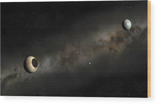 Pluto And Charon Artwork Wood Print