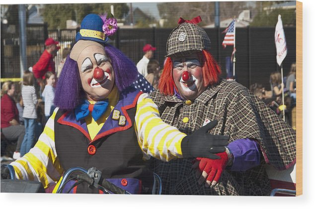 Clowns Wood Print featuring the photograph Two Clowns by Jon Berghoff