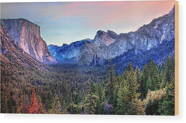 Yosemite National Park Wood Print featuring the digital art Yosemite Valley From Tunnel by Bob and Nadine Johnston