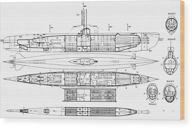 U-boat Cutaway Series Wood Print by Aviation Heritage Press