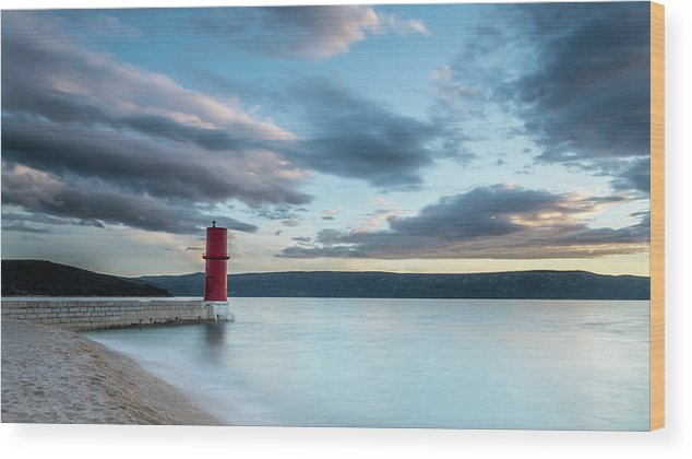 Island Wood Print featuring the photograph Red Lighthouse Of Cres On A Cloudy Day In Spring by Stefan Rotter