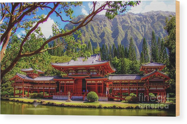 Buddhist Wood Print featuring the photograph Buddhist Temple - Oahu, Hawaii - by D Davila