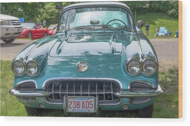 Aqua Wood Print featuring the photograph Aqua Blue 1959 Corvette by Bill Ryan