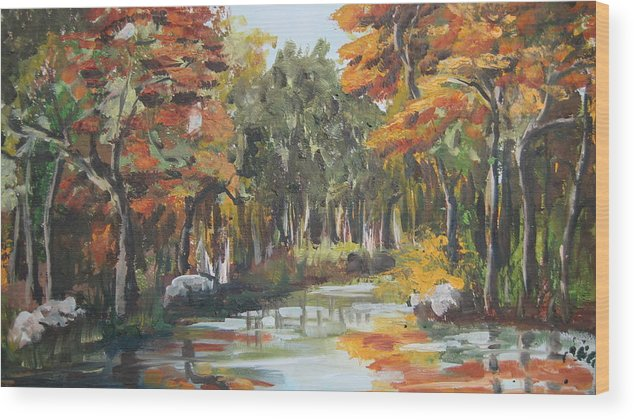 Landscape Wood Print featuring the painting Autumn In The Woods by Mabel Moyano